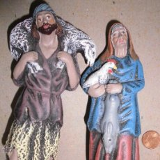 Figuras de Belén: ANTIGUA FIGURA GRANDE BELEN BARRO LOTE DOS FIGURAS 13 CMS MURCIA TALLER MAESTROS ARTESANOS. Lote 47902135