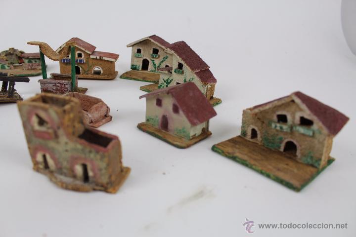 lote casas de belen en corcho pintadas a mano. - Comprar Figuras de ...