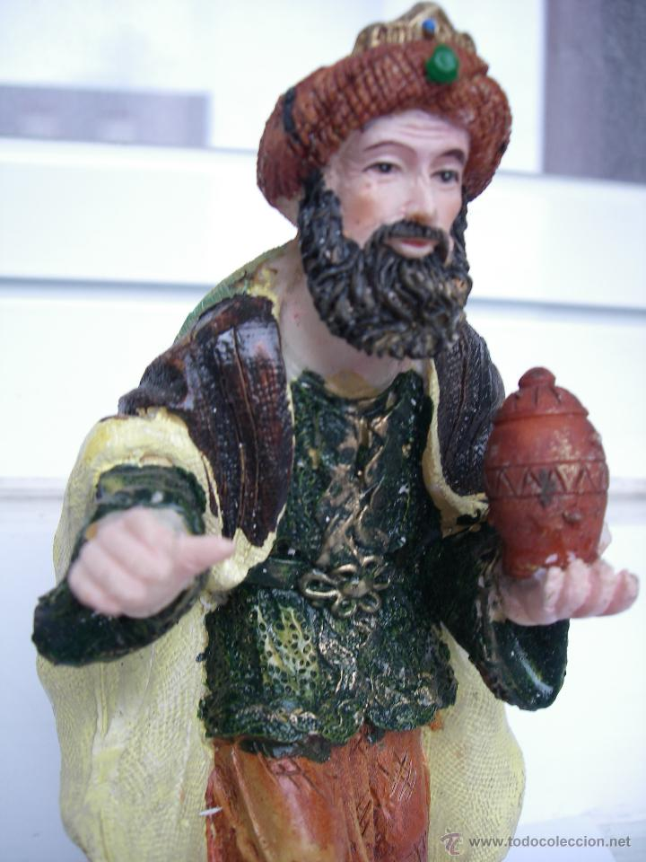 Figuras de Belén: ANTIGUA FIGURA ARTESANA PINTADA A MANO - REY GASPAR - GRANDE (14 cm alto x 8 cm ancho) - Foto 2 - 49754858