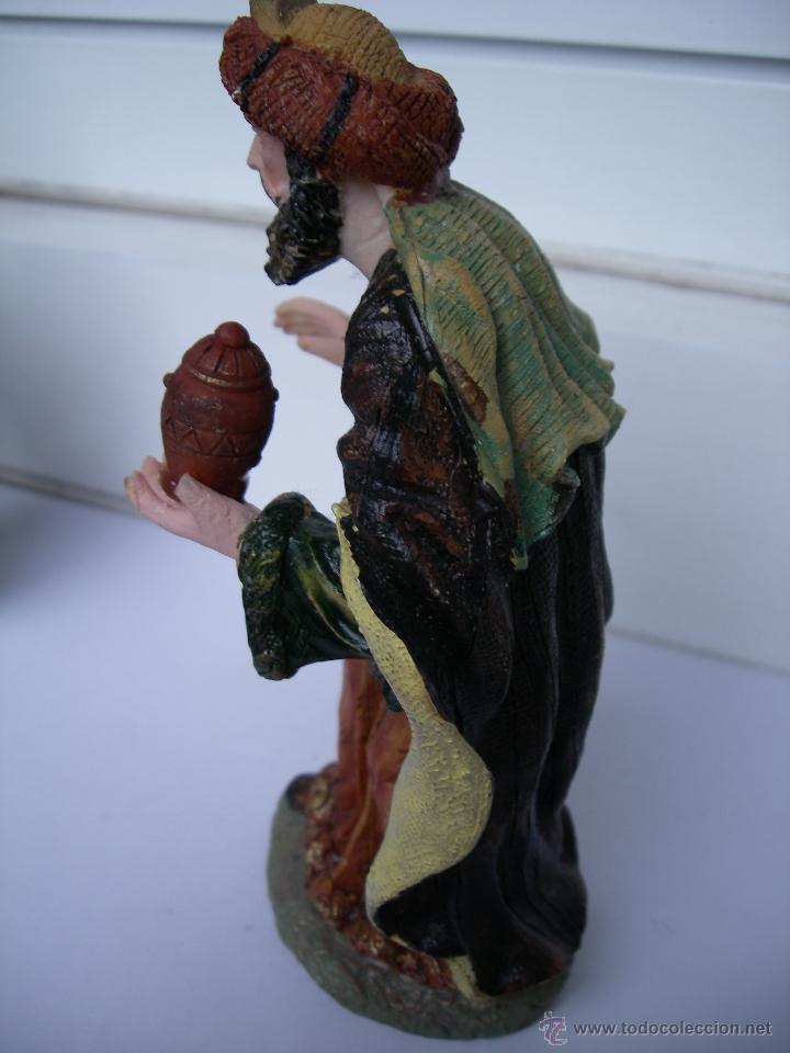 Figuras de Belén: ANTIGUA FIGURA ARTESANA PINTADA A MANO - REY GASPAR - GRANDE (14 cm alto x 8 cm ancho) - Foto 6 - 49754858