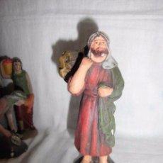 Figuras de Belén: ANTIGUA FIGURA DE BELEN DE BARRO CARGADOR DE LEÑA,FARDO DE LEÑA PEGADO . Lote 50211748