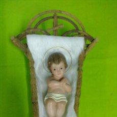 Figuras de Belén: NIÑO JESUS EN SU CUNA. Lote 50690249