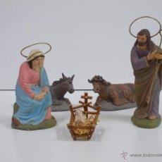 Figuras de Belén: ANTIGUA FIGURA DE BELEN DE TERRACOTA- NACIMIENTO S JOSÉ 12,5CMTS,VIRGEN 10CMTS. Lote 53233327