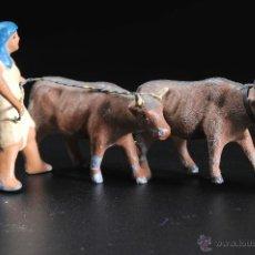Figuras de Belén: FIGURA DE BELEN O PESEBRE EN PLOMO HOMBRE CON BUEYES. Lote 54557144