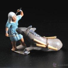 Figuras de Belén: FIGURA DE BELEN O PESEBRE EN PLOMO HOMBRE Y MULA CON CARGA. Lote 54557307
