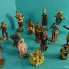 Figuras de Belén: 16 FIGURAS DE PLÁSTICO DE PERSONAJES PARA BELÉN. Lote 57609571