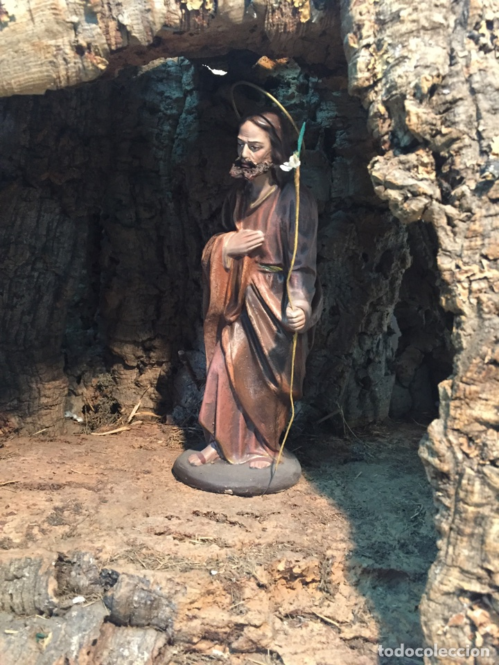 Figuras de Belén: PORTAL DE BELEN O CUEVA DE CORCHO Y MADERA ANTIGUO GRANDE, PARA FIGURAS DE LA SERIE 20. - Foto 8 - 63650511