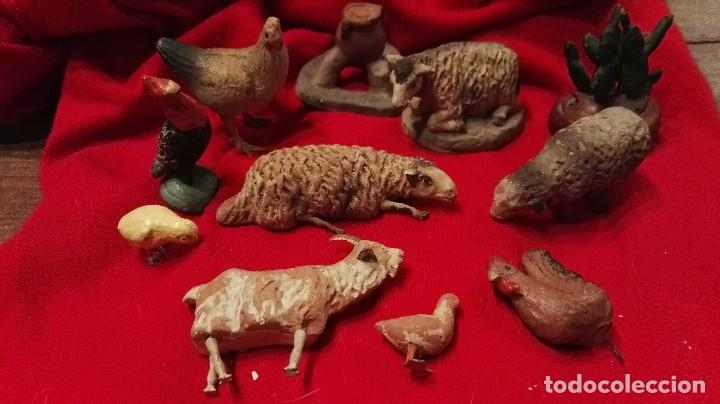 LOTE FIGURAS ANIMALES ANTIGUAS BELEN TERRACOTA. (Coleccionismo - Figuras de Belén)