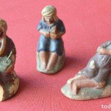 Figuras de Belén: 3 FIGURAS DE PASTORES DE TERRACOTA O BARRO A RESTAURAR - PRIMERA MITAD DEL SIGLO XX - VER FOTOS. Lote 66716170