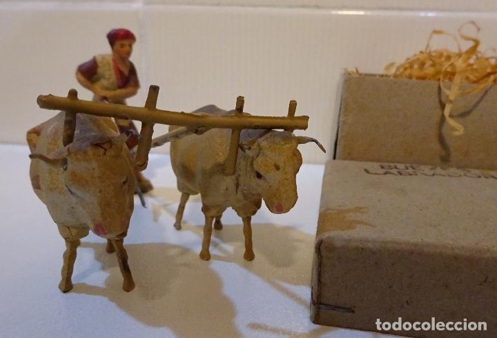 Figuras de Belén: FIGURAS DE CERÁMICA LABRADOR CON ARADO Y DOS BUEYES. ALTURA LABRADOR 6 CM - Foto 6 - 68941121