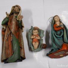 Figuras de Belén: BELEN NACIMIENTO DE LA CASA ORTIGAS CON FIGURA HECHA EN BARRO DE SAN JOSE, VIRGEN MARIA, NIÑO JESUS.. Lote 70076121