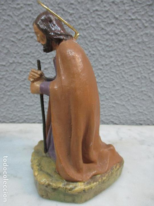 Figuras de Belén: Antiguas Figuras de Belén - Nacimiento - Reyes - Yeso Policromado - 17 cm Altura - Talleres de Olot - Foto 6 - 70150933