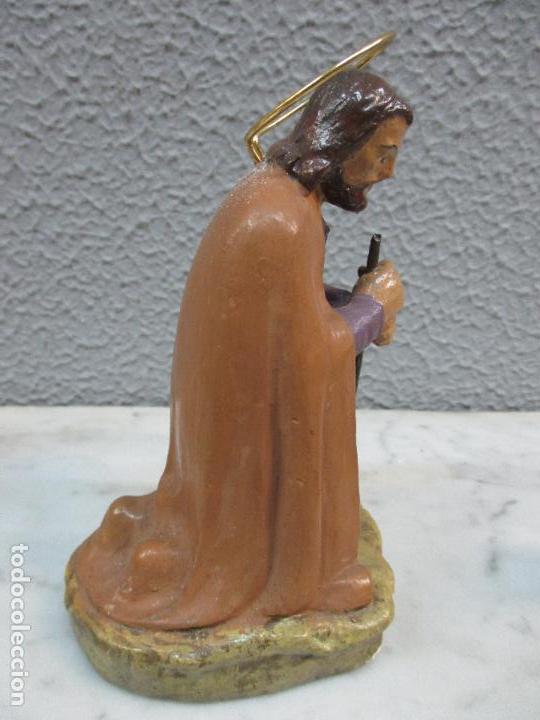 Figuras de Belén: Antiguas Figuras de Belén - Nacimiento - Reyes - Yeso Policromado - 17 cm Altura - Talleres de Olot - Foto 8 - 70150933