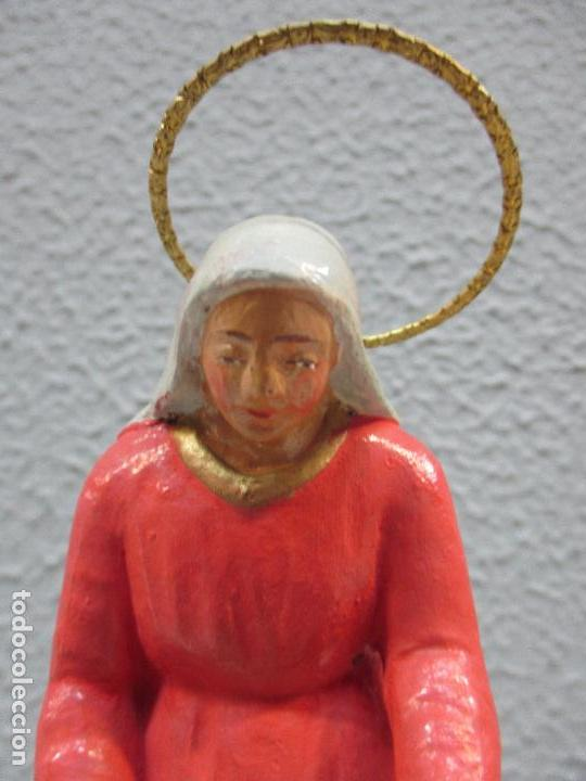 Figuras de Belén: Antiguas Figuras de Belén - Nacimiento - Reyes - Yeso Policromado - 17 cm Altura - Talleres de Olot - Foto 12 - 70150933