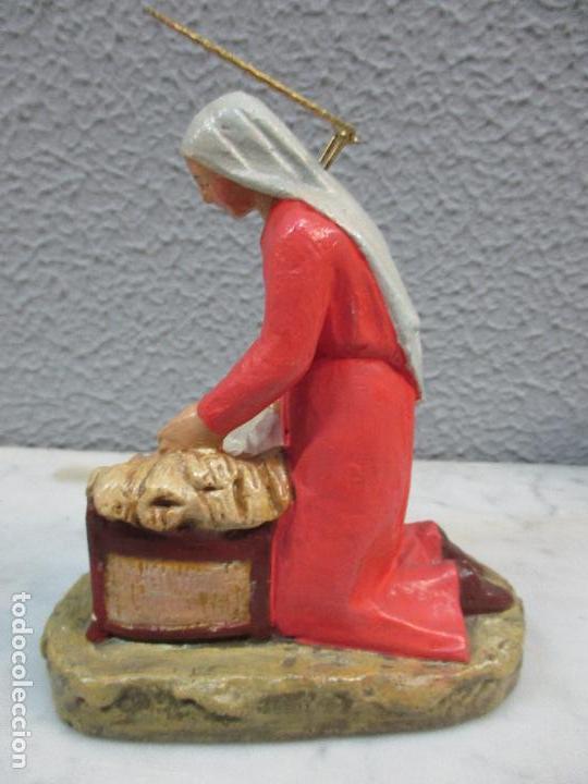 Figuras de Belén: Antiguas Figuras de Belén - Nacimiento - Reyes - Yeso Policromado - 17 cm Altura - Talleres de Olot - Foto 13 - 70150933