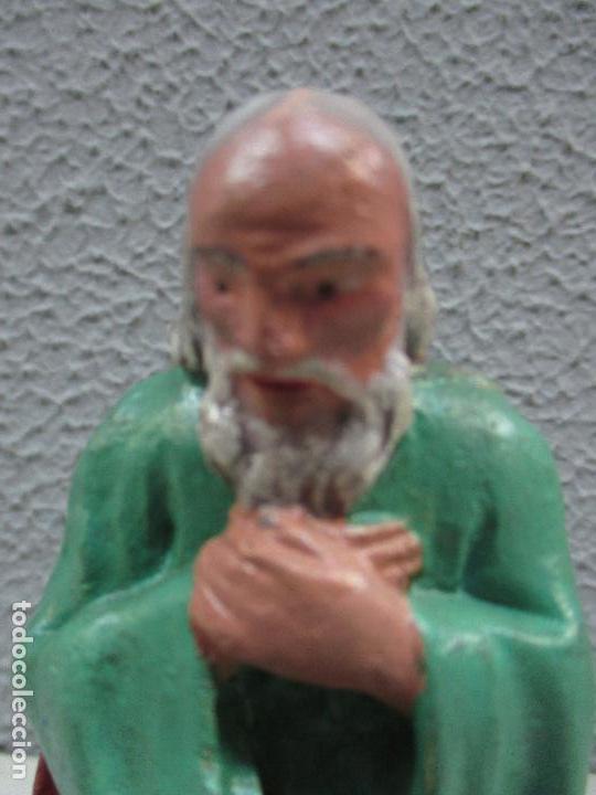 Figuras de Belén: Antiguas Figuras de Belén - Nacimiento - Reyes - Yeso Policromado - 17 cm Altura - Talleres de Olot - Foto 15 - 70150933