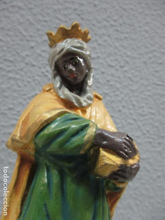 Figuras de Belén: Antiguas Figuras de Belén - Nacimiento - Reyes - Yeso Policromado - 17 cm Altura - Talleres de Olot - Foto 27 - 70150933