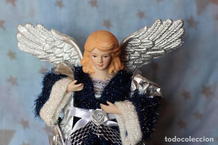 IMAGEN ANGEL BELEN DE TELA Y PORCELANA BISCUIT AÑOS 80 ESTILO NAPOLITANO (Coleccionismo - Figuras de Belén)