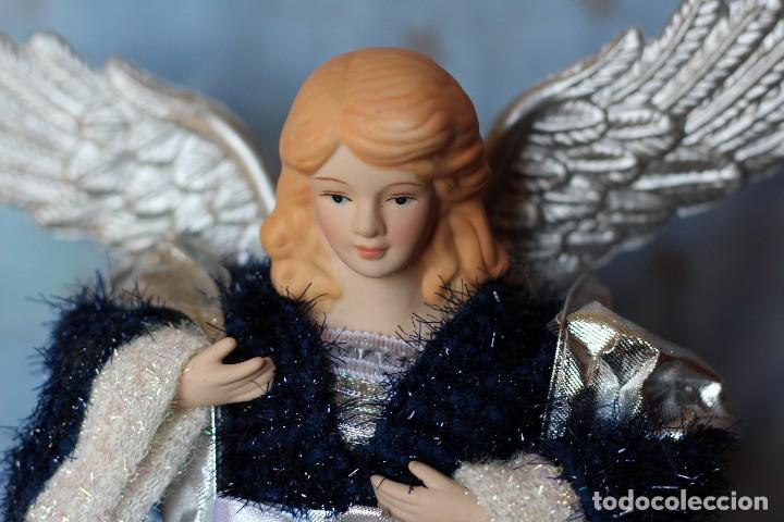 Figuras de Belén: IMAGEN ANGEL BELEN DE TELA Y PORCELANA BISCUIT AÑOS 80 ESTILO NAPOLITANO - Foto 2 - 77501153
