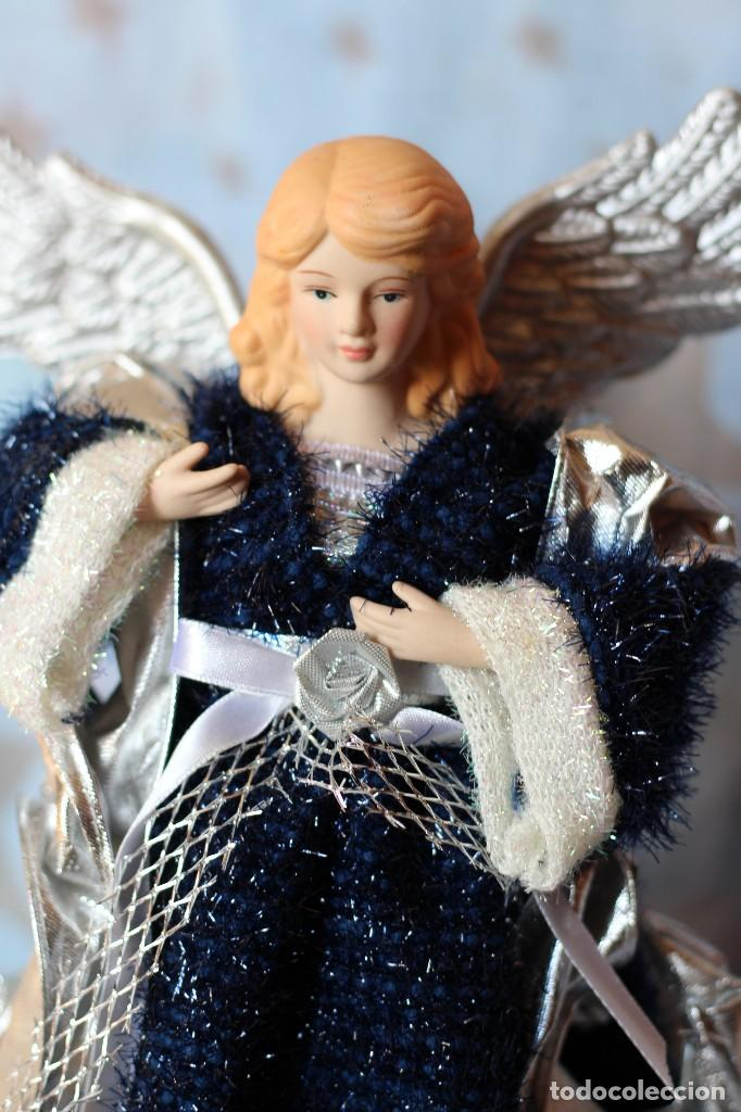 Figuras de Belén: IMAGEN ANGEL BELEN DE TELA Y PORCELANA BISCUIT AÑOS 80 ESTILO NAPOLITANO - Foto 8 - 77501153