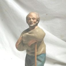 Figuras de Belén: PASTOR REBAÑO OVEJAS AÑOS 50, PASTA MADERA, TALLERES OLOT. MED. 17 CM. Lote 79501349