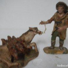 Figurines pour Crèches de Noël: PASTOR CON BURRO CAIDO 12 CMS TERRACOTA DE MANUEL COLLADO GRANADA ESCUELA RADA MARISCAL. Lote 86394120