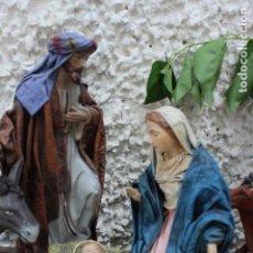 Figuras de Belén: NACIMIENTO DE GRAN TAMAÑO NIÑO JESUS JOSE Y MARIA BELÉN ENTELADO MURCIA MURCIANO. Lote 98931271