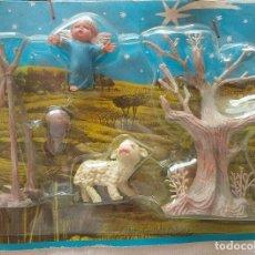 Figuras de Belén: BLISTER DE ANGEL CON OVEJA, HOGUERA Y ÁRBOL. FIGURAS NAVIDAD OLIVER BELEN CABEZONES PEQUEÑO. AÑOS 70. Lote 99077879