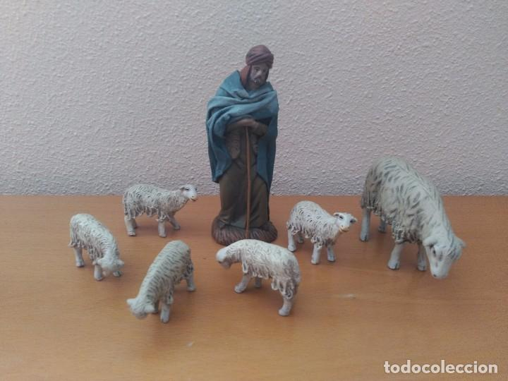 Pastor Con Ovejas Figuras Belén Artesanal Vendido En Venta