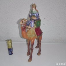 Figuras de Belén: ANTIGUAS FIGURAS DEL PORTAL DE BELEN REY MAGO EN SU CAMELLO. Lote 102367187