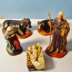 Figuras de Belén: LOTE 6 GRANDES FIGURAS DE PESEBRE TERRACOTA Y BASE MADERA. 15 CM ALTURA. MUY DETALLADAS.. Lote 103294615