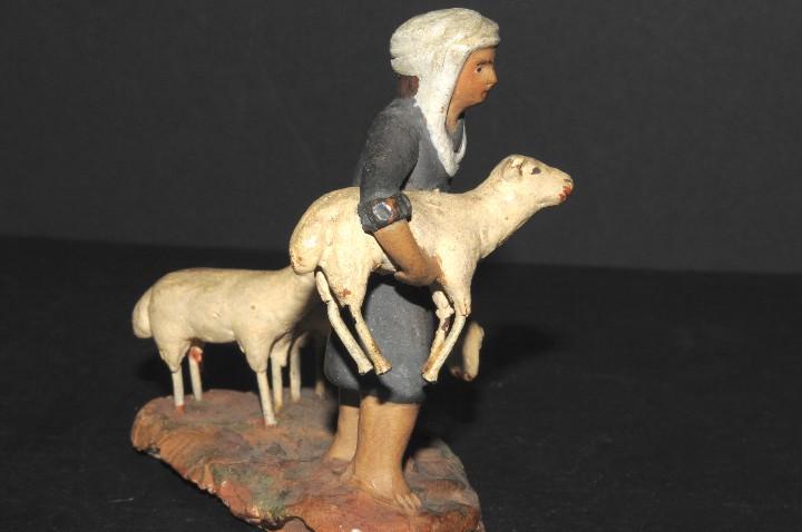 Figuras de Belén: FIGURA DE BELEN O PESSEBRE EN BARRO O TERRACOTA - PASTOR CON OVEJAS - Foto 4 - 195431747