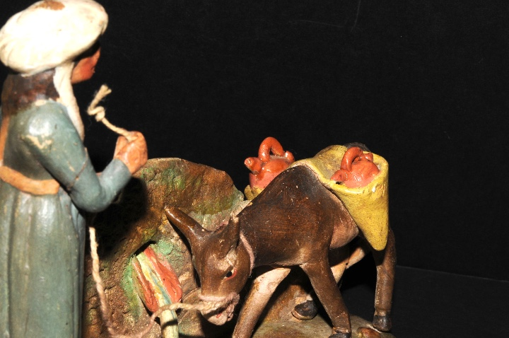 Figuras de Belén: FIGURA DE BELEN O PESSEBRE EN BARRO O TERRACOTA - PERSONAJE CON BURRO - Foto 5 - 107836331
