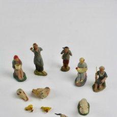 Figuras de Belén: LOTE DE 11 FIGURAS BELEN EN TERRACOTA PINTADAS A MANO. PARA RESTAURAR. S.XIX.. Lote 108786643