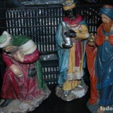 Figuras de Belén: ANTIGUAS FIGURAS BELEN - REYES MAGOS - GRAN TAMAÑO EN ESCAYOLA -AÑOS 50/60 - VER FOTOS. Lote 109049099
