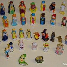 Figuras de Belén: LOTE DE 40 FIGURITAS DE ROSCÓN DE REYES. CERÁMICA. REYES MAGOS, PIEZAS BELÉN. 350 GR. Lote 113024467