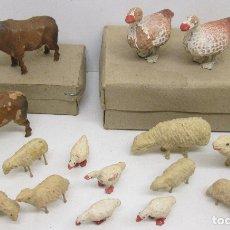 Figuras de Belén: FIGURAS BELÉN BARRO Y PLOMO AÑOS 60?? ANIMALES, CORDEROS, VACAS Y OCAS. Lote 114482598