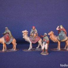 Figuras de Belén: REYES MAGOS Y UN PAJE , SELLADOS ORTIGAS. EN SU CAJA ORIGINAL.. Lote 117124243