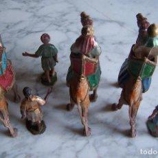 Figurines pour Crèches de Noël: LOTE FORMADO POR 9 PIEZAS DE BELÉN, REYES MAGOS, CAMELLOS Y PAJES DE PLÁSTICO. Lote 117275215