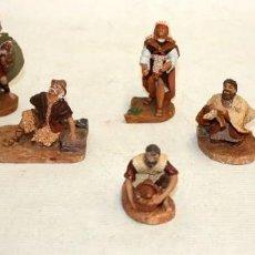Figuras de Belén: CONJUNTO DE 9 FIGURAS DE BELEN O PESSEBRE EN TERRACOTA POLICROMADA. FIRMADAS POR J. LLORENS. Lote 121346023