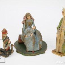 Figuras de Belén: NACIMIENTO / BELÉN ARTESANAL BARRO O TERRACOTA - FIRMADAS M. OLIVER - PAYÉS, VIRGEN, SAN JOSÉ Y NIÑO. Lote 121952127