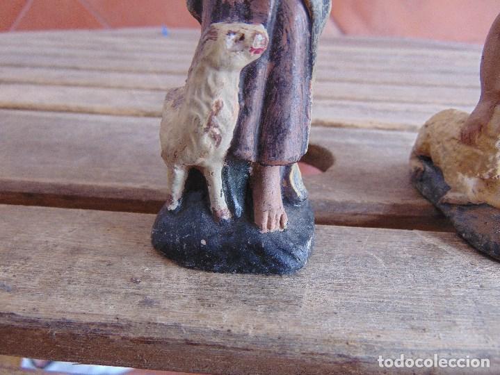 Figuras de Belén: FIGURA DE BELEN EN BARRO , TERRACOTA 2 PASTORES - Foto 3 - 123348811