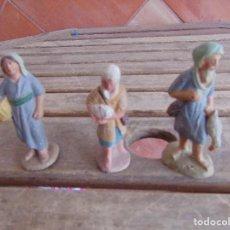 Figuras de Belén: FIGURA DE BELEN EN BARRO O TERRACOTA 3 PASTORES . Lote 123348915