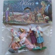 Figuras de Belén: BOLSA 4 FIGURAS PASTORES ANTIGUAS DE BELEN NACIMIENTO FABRICADAS EN ESPAÑA JUGUETES OLIVER. Lote 124512783