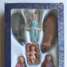 Figuras de Belén: CAJA 6 FIGURAS ANTIGUAS DE BELEN NACIMIENTO FABRICADAS EN MENORCA MARCA MOYSI. Lote 124512887
