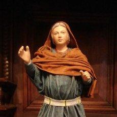Figuras de Belén: SANTA ISABEL EMBARAZADA EN VISITACION DE LA VIRGEN MARIA - BARRO Y LIENZO - 21,5 CMS.. Lote 124729515