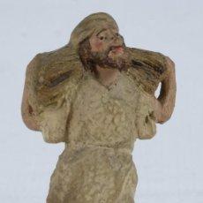 Figuras de Belén: FIGURA DE BELEN EN BARRO PASTOR CON PAJA FINALES SIGLO XIX. Lote 127857939