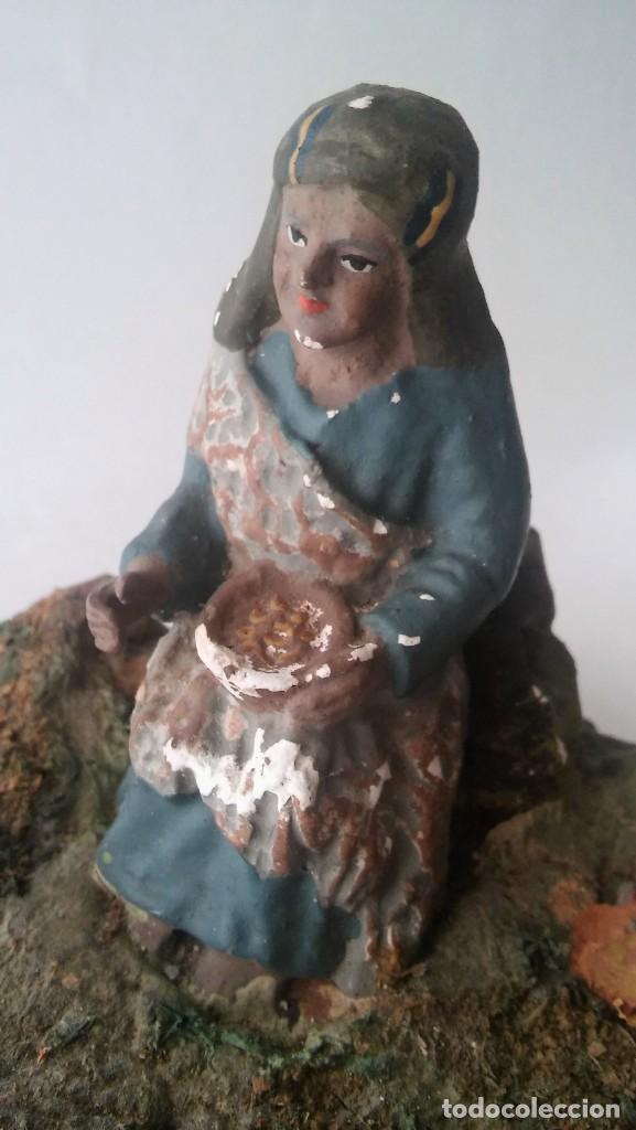 Figuras de Belén: FIGURA FIGURITA DE BELÉN PESEBRE NACIMIENTO EN BARRO COCIDO Y ESTUCO, AÑOS 30-40 ANTIGUA S XX - Foto 10 - 132269046