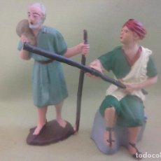 Figuras de Belén: LOTE DOS FIGURAS PASTORES PORTAL DE BELÉN. Lote 133462574