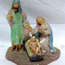 Figuras de Belén: NACIMIENTO PESEBRE EN YESO. VIRGEN MARÍA, SAN JOSÉ Y NIÑO JESÚS EN UNA SOLA PIEZA.. Lote 134285846